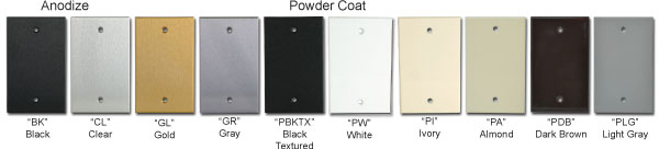 Aluminum wall plate finish selections